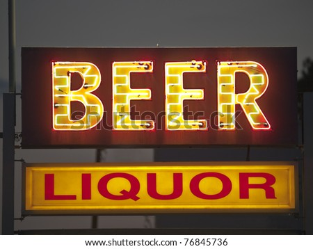 Generic beer and liquor neon sign. - stock photo