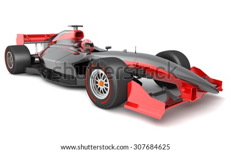 Generic black and red race car.  This is 3D model and this sport car doesn't exist in real life - stock photo