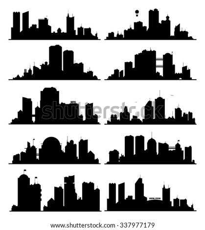 Generic black and white big city skylines set