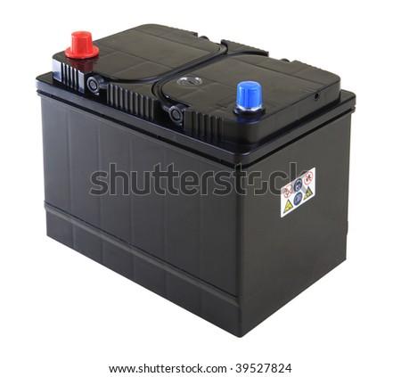Generic black car battery isolated on white - stock photo