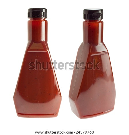 Generic bottle of spicy barbecue sauce / ketchup - two angles - stock photo