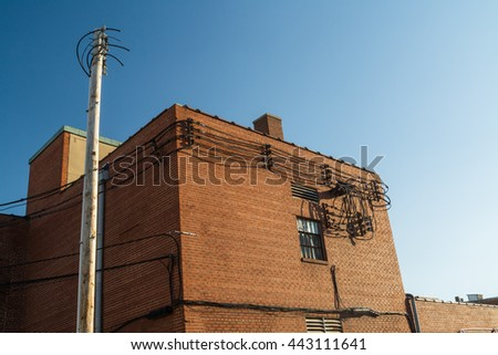 Generic brick buildings in small Midwest town.  LaSalle, Illinois, U.S.A.. - stock photo