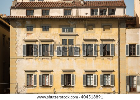 Generic buildings along the Arno River, Florence, Italy