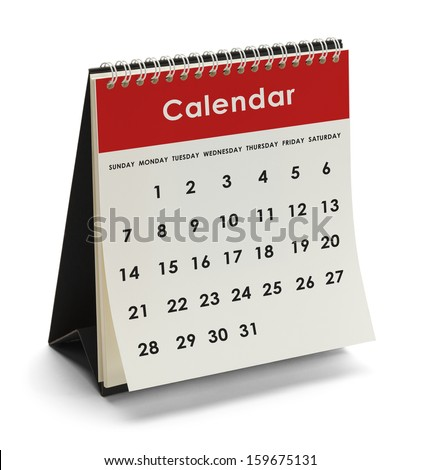 Generic Calendar With Days and Dates Isolated on White Background. - stock photo