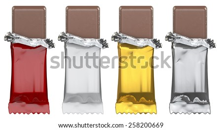 Generic candy bars, just add artwork - stock photo