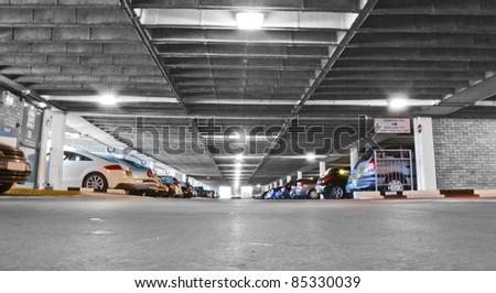 Generic car park interior - stock photo