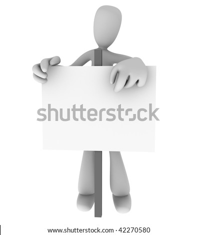 Generic cartoon person standing behind and pointing at blank sign - stock photo