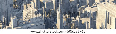 Generic city scape with concrete buildings 3d rendering