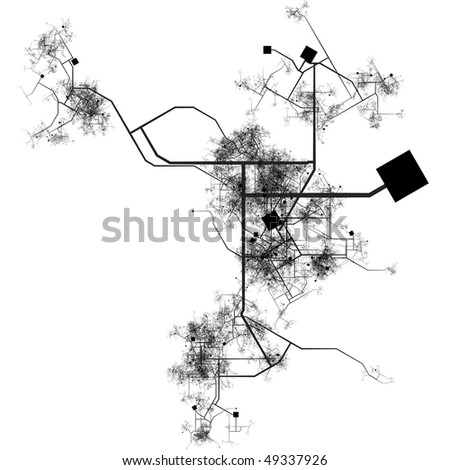 Generic City with Roads Transport System Map Art - stock photo