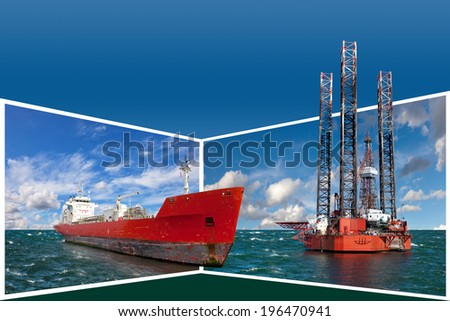Generic concept Oil Rig and tanker for adv or others purpose use. - stock photo