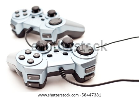 generic console/pc controllers on white - stock photo