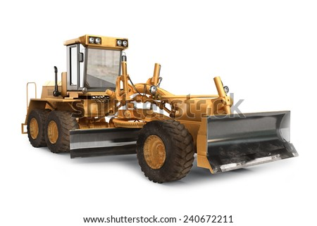 Generic construction road grader construction machinery equipment positioned on a white background  - stock photo
