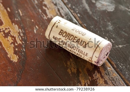 Generic cork from Bordeaux red wine region - stock photo