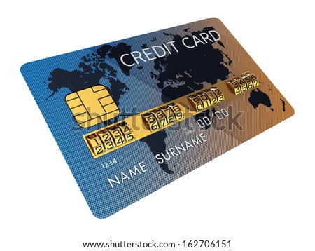 Generic credit card with combination lock as identification number , isolated on white - stock photo