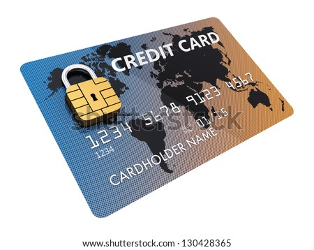 Generic credit card with security chip as padlock , isolated on white - stock photo