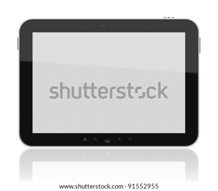 Generic digital tablet pc. Include clipping path for tablet and screen. Isolated on white. - stock photo
