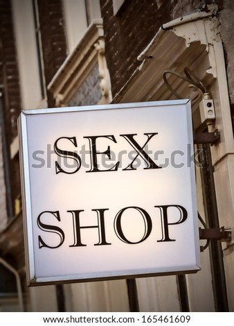 Generic Dutch sex shop sign in the red light district in Amsterdam