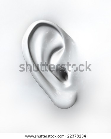 Generic ear on white background - stock photo