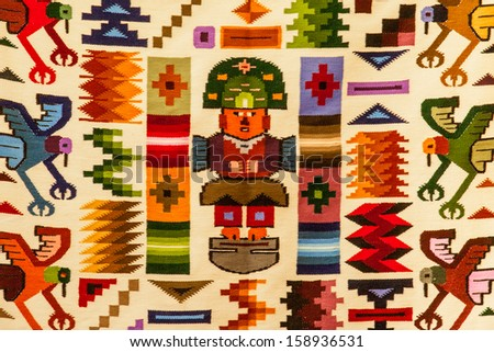 Generic fabric with traditional Peruvian design elements, Sacred Valley, Andes - stock photo