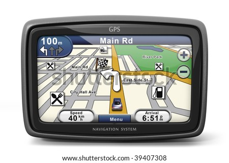 Generic GPS navigation system device (3d illustration) - stock photo