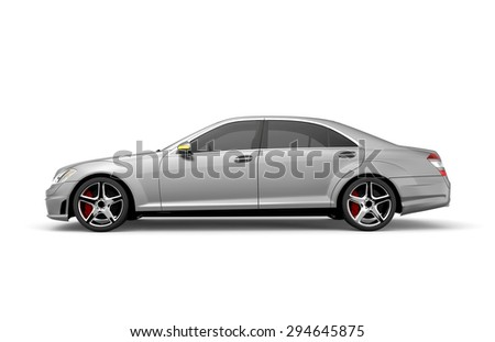 Generic grey  car isolated on a white background