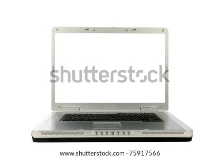 generic 18 inch laptop computer with a white screen with room for your text, isolated on white - stock photo