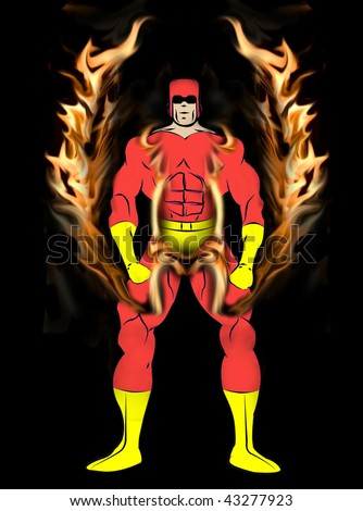 Generic Male Superhero with Flame Wing Harness in tight Red and yellow Costume isolated on a black background.