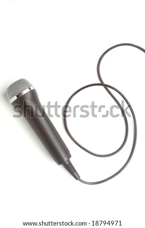 Generic microphone isolated on white, shot in studio