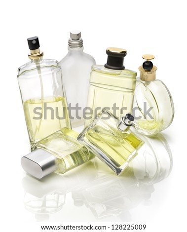 Generic perfume bottles set over white background - stock photo