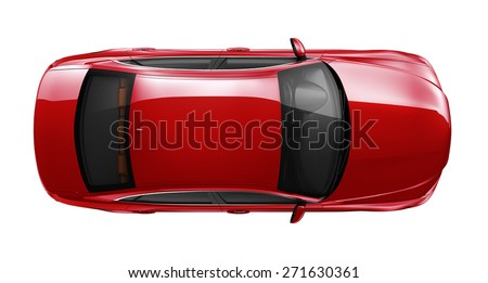 Generic red car - top angle - stock photo