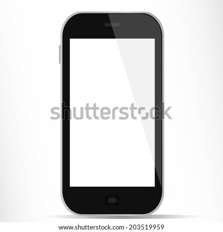Generic smartphone with white display - stock photo