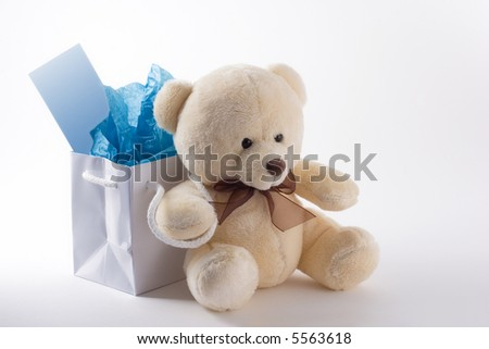 Generic teddy bear sits in front of a small gift bag with notecard