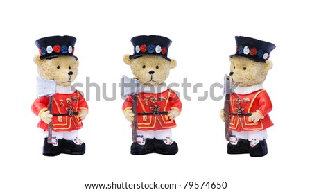 generic tourist type souvenirs of a teddy bear dressed as a british yeoman of the guard or beefeater. - stock photo