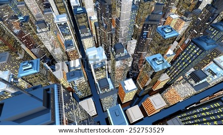 Generic urban architecture and skyscrapers forming a huge city. 3D rendered Illustration.  - stock photo