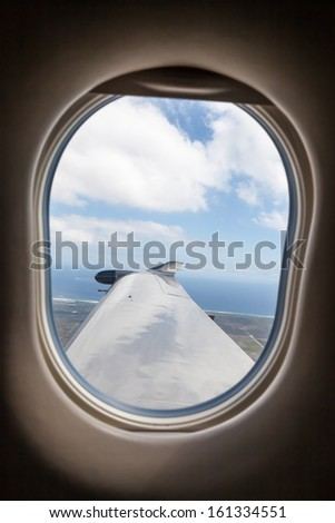 Generic view from inside single-prop airplane - portrait interior - stock photo