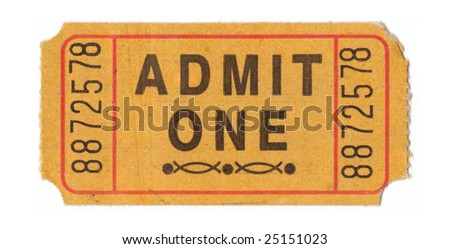 Generic vintage admit one ticket close up - stock photo