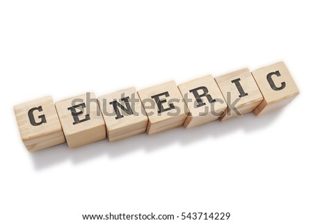 GENERIC word made with building blocks isolated on white