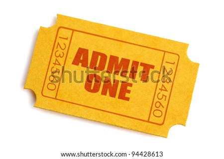 Generic yellow admission ticket isolated on white background - stock photo