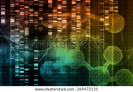 Genetic Background with DNA Genome Sequence Art - stock photo