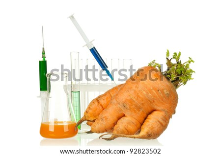 Genetically modified organism - ripe carrot with syringes and laboratory glassware on white background - stock photo
