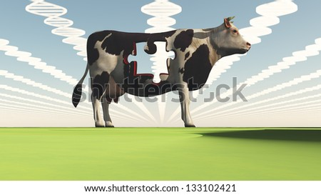Geneticly modified cow - stock photo