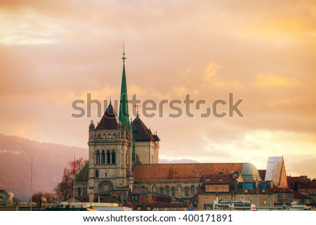 Geneva cityscape overview with St Pierre Cathedral in Geneva, Switzerland. - stock photo