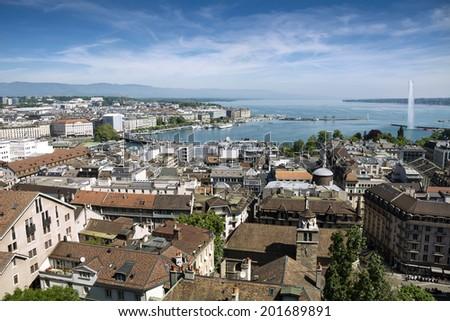Geneva from above - stock photo