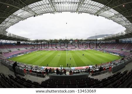 Geneva, June 6, 2008. Fisheye interior view of of the Stade de Geneve prior to the first match for Portugal and Turkey at Euro 2008.  EDITORIAL USE ONLY.