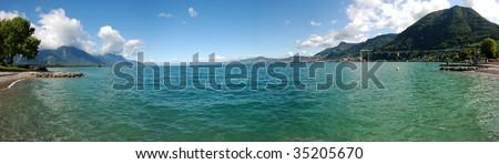 Geneva lake - panorama - stock photo