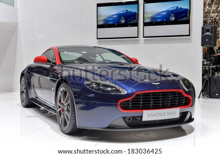 GENEVA, MAR 4: Aston Martin N430 displayed at the 84th International Motor Show International Motor Show in Geneva, Switzerland on March 4, 2014. - stock photo
