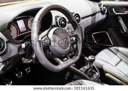 GENEVA, MAR 4: Audi S1 interior, presented at the 84th International Motor Show in Geneva, Switzerland on March 4, 2014. - stock photo