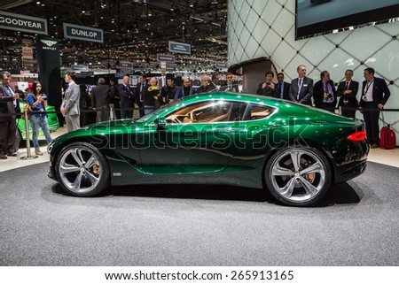GENEVA, MAR 3: Bentley Exp 10 Speed 6 Concept car, presented at the 85th International Motor Show in Geneva, Switzerland on March 3, 2015. - stock photo
