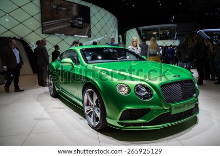 GENEVA, MAR 3: Bentley GT Speed car, presented at the 85th International Motor Show in Geneva, Switzerland on March 3, 2015. - stock photo