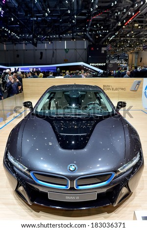 GENEVA, MAR 4: BMW i8 displayed at the 84th International Motor Show International Motor Show in Geneva, Switzerland on March 4, 2014. - stock photo